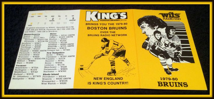 1979-80 BOSTON BRUINS WITS RADIO KINGS HOCKEY POCKET SCHEDULE FREE SHIPPING #Pocket #SCHEDULE