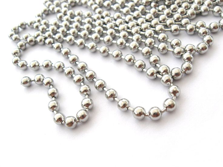 Chunky stainless steel ball chain. Quantity: 10 feetCondition: New Material : Stainless Steel Ball Size : approx: 4mm Stainless steel is 100% hypoallergenic and will not produce skin irritation or discoloration.Find stainless steel connector clasps for ball chain HERE