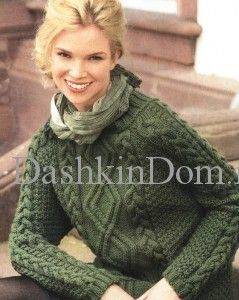 вязаный пуловер с аранами
