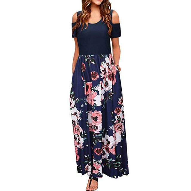 Summer boho long maxi dress women beach dress short sleeve cold shoulder party dresses women clothes