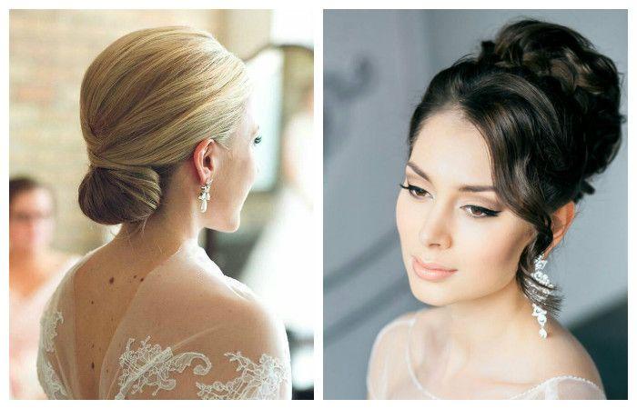 Фото элегантной прически на свадьбу для волос средней длины