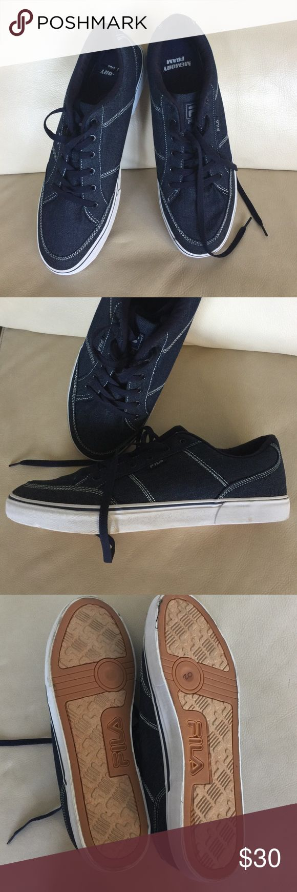 Men's FILA Jean Skater Sneakers w / Memory Foam 13 Worn once for about an hour are these Men's size 13 FILA  Skater Style Sneakers. Jean fabric with white stitching. White rubber soles and blue laces. Super on trend! Fila Shoes Sneakers