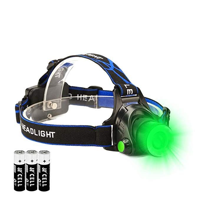 Green Led Headlamp Waterproof Head Torch Light With Zoomable And 3 Mode Best For Hunting Outdoor Activities Climbin Green Led Lights Green Led Camping Lights