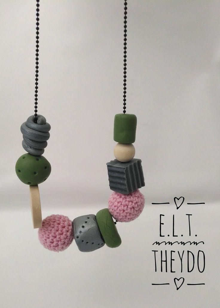 Collana estiva Perle uncinetto, Perle clay, Legno naturale di ELTStore su Etsy