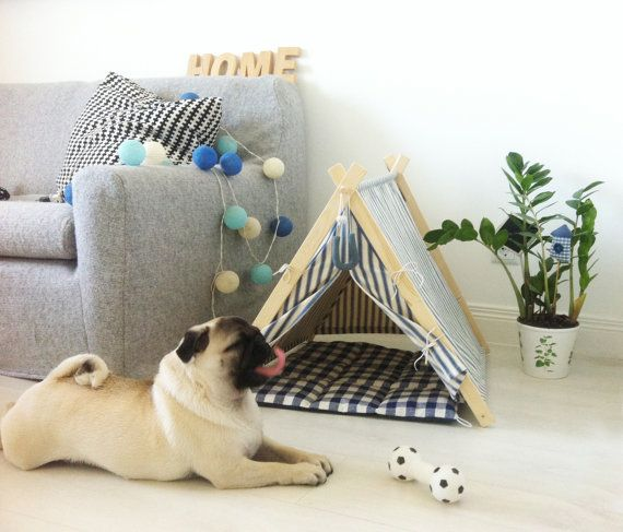 Pug,  dog house, scandinavian interior