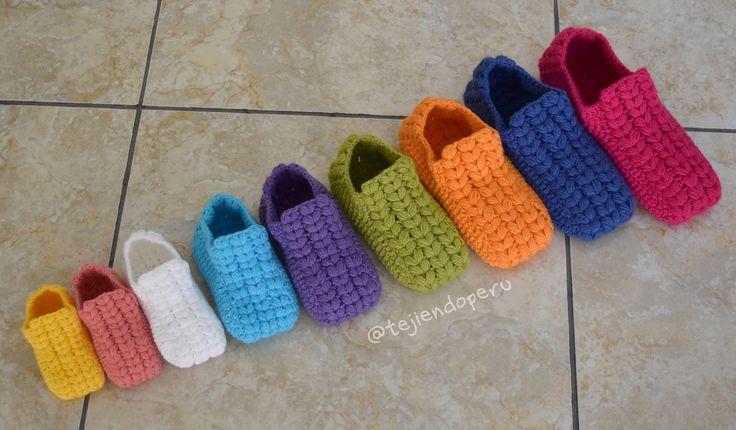 Zapatos o pantuflas UNISEX tejidas a crochet en 9 tallas (¡desde recién nacidos hasta adultos!). Video del paso a paso ;)