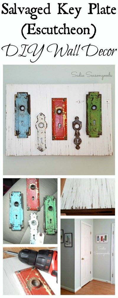 Create unique, stylish wall decor by displaying salvaged hardware (like these chippy painted antique key plates / escutcheons) on a piece of salvaged wood (like a vintage cabinet door). It's super easy to make (you just need some screws and a drill) and looks pricey and on-trend. Plus, it's a one-of-a-kind upcycle project that no one else will have! #SadieSeasongoods / www.sadieseasongoods.com