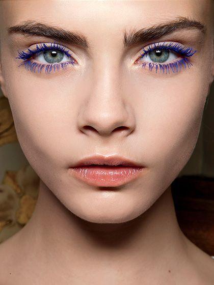 Cara Delevigne cobalt blue lashes - Stella McCartney 2014 Resort show | allure.com