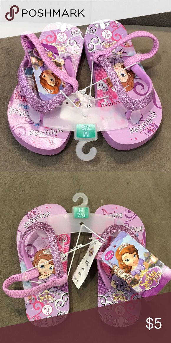 Sophia the First sparkly flip flops 7/8 Brand-new, never worn! Perfect for a Sophia lover! No trades! Disney Shoes Sandals & Flip Flops