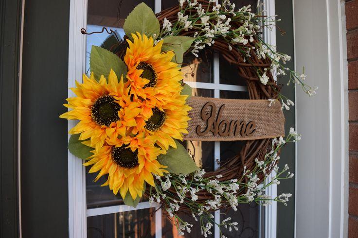 Sunflower Front Door Wreath by MaleehasArtsCrafts on Etsy