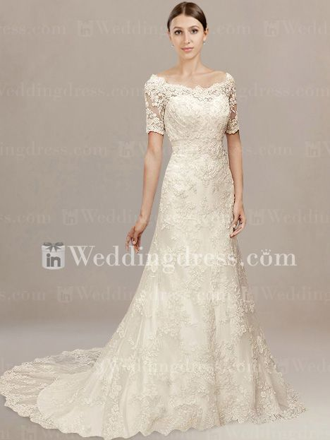 SOOO much love! Vintage Lace Off-the-Shoulder Bridal Dress with Sleeves #weddingdresses #sleeves #lace