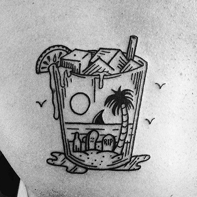 25 best ideas about tiki tattoo on pinterest tiki art for Small cocktail tattoos