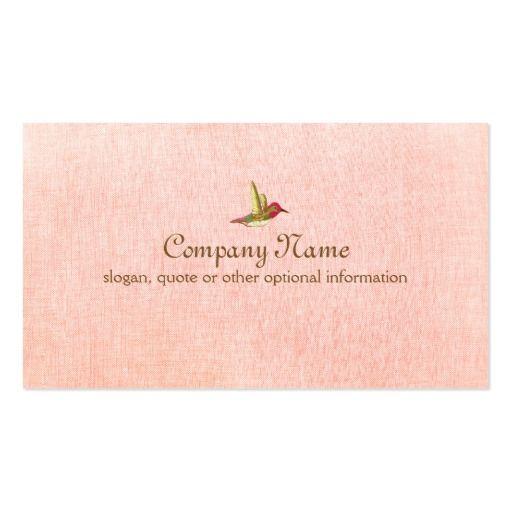 模造のなピンクのリネン名刺のハチドリ スタンダード名刺