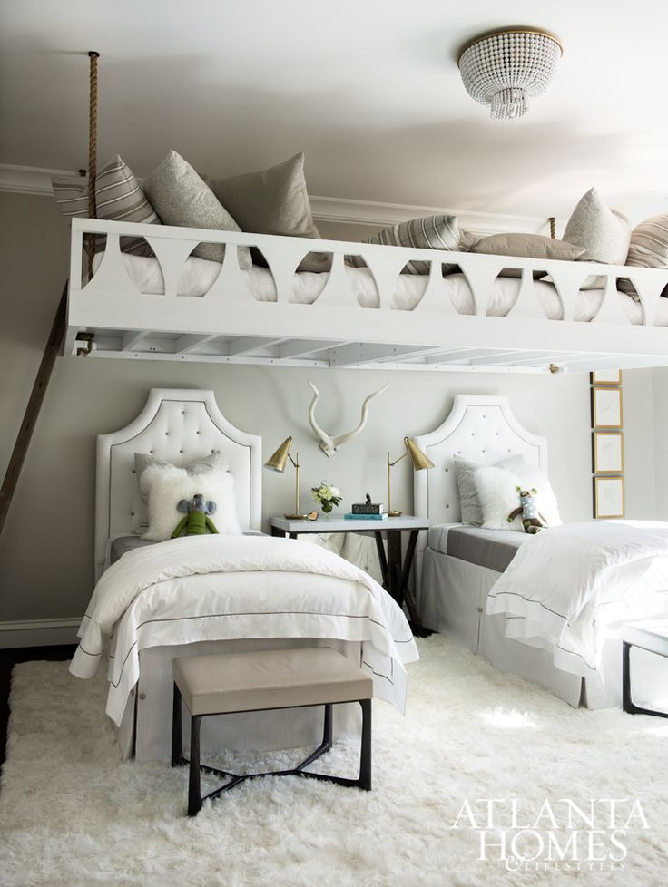 Cheerful white bedding and an alpaca rug soften the space, as do tufted headboards covered in durable, worry-free Perennials fabrics. The true showstopper, of course, is the room's suspended platform, designed with the help of furniture maker Kevin Scanlon.