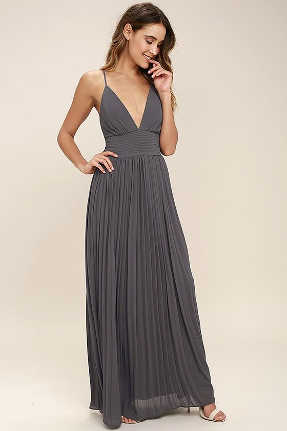 Lulus Exclusive! Deeper than the deep blue sea and the Grand Canyon combined ... that's how deep our love for the Depths of My Love Slate Grey Maxi Dress is! Elegant chiffon in a lovely bluish grey hue shapes a triangle bodice and sultry V-neckline supported by crisscrossing, adjustable spaghetti straps. The fitted, pintucked waistline accentuates your figure before flowing into an accordion pleated maxi skirt. Hidden back zipper and clasp.