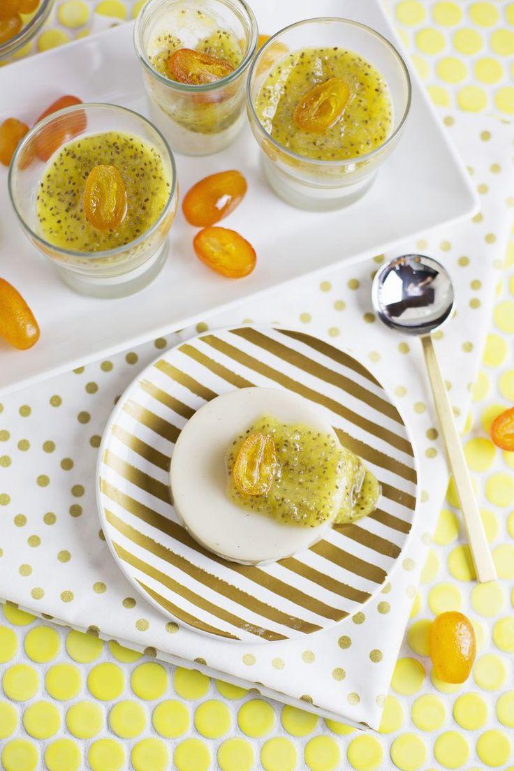 Panna cotta with pineapple chia glaze - vegan friendly option (via abeautifulmess.com)