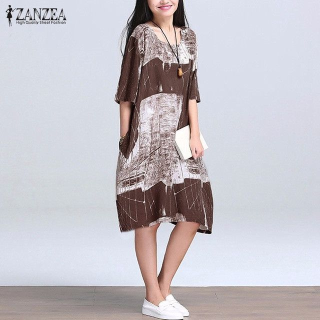 2017 Summer Women Boho Casual Loose Folk Style Dress Vintage Retro Floral Printed Half Sleeve O Neck Knee Length Dress Vestidos
