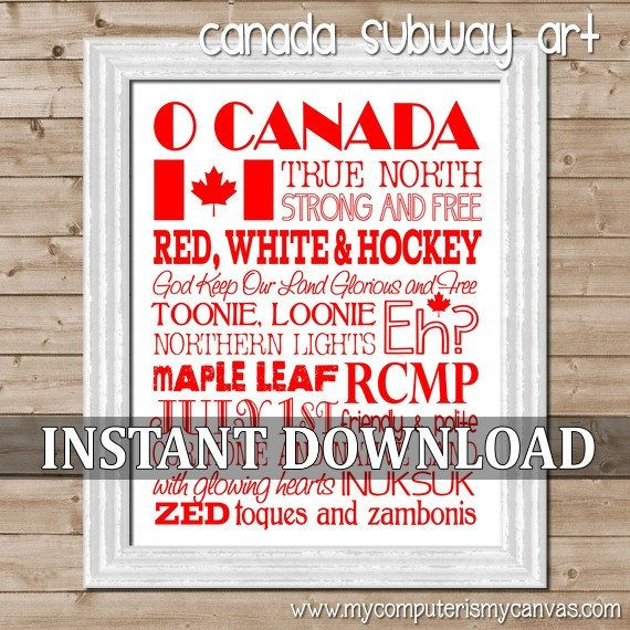 O CANADA Subway Art   Printable Instant by mycomputerismycanvas, $5.00