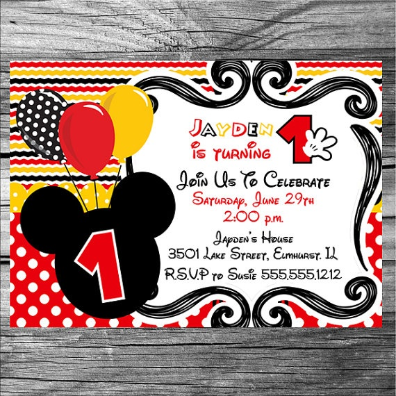 Boy Mickey Mouse Birthday Invitation Printable By Photodesignz 1000
