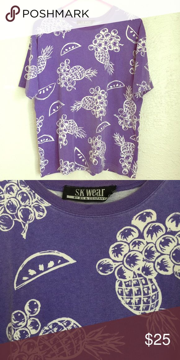 """VTG 90's grape - fruit basket tee shirt L vintage 1990's fruit basket - great grape kool aid  color, perfect pineapples, watermelon t-shirt - very soft - no size, but would best fit a medium/large, please use these MEASUREMENTS: pit to pit 21"""", 25"""" length Vintage Tops Tees - Short Sleeve"""