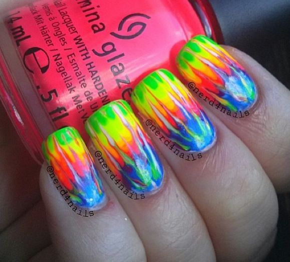Tie dye nails - horizontal spectrum, vertical blending