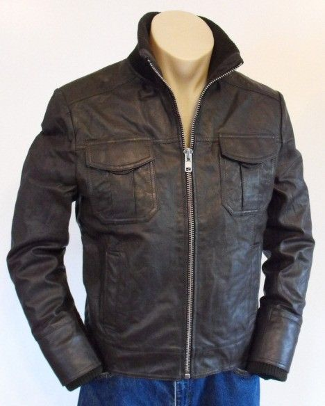 Brown Slimfit Bomber Leather Jacket  Jacket Features:   Outfit type: Leather Gender Male Color: Brown Front: Front Zip Closure Collar:ZipCollar Lining: Viscose Lining Pockets:Four pockets