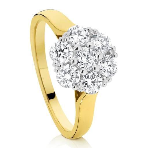 Kiss - 18 carat yellow gold halo cluster tdw1.00ct jk/si3