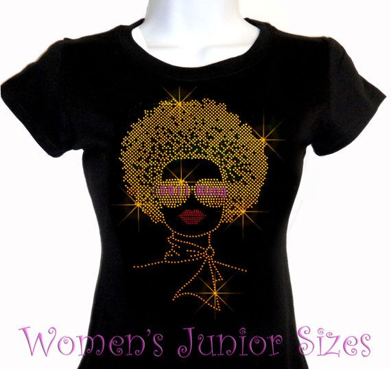 Lady with Afro - GOLD - Iron on Rhinestone T-Shirt - Bling Hot Fix Natural Hair Style Stylist Transfer Shirt Top