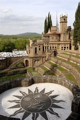 La Scarzuola, Umbria. The town is mentioned in the chronicles to be one in which, in 1218, St. Francis built a hut at the point where he planted a rose and a laurel from which miraculously gushed a fountain.