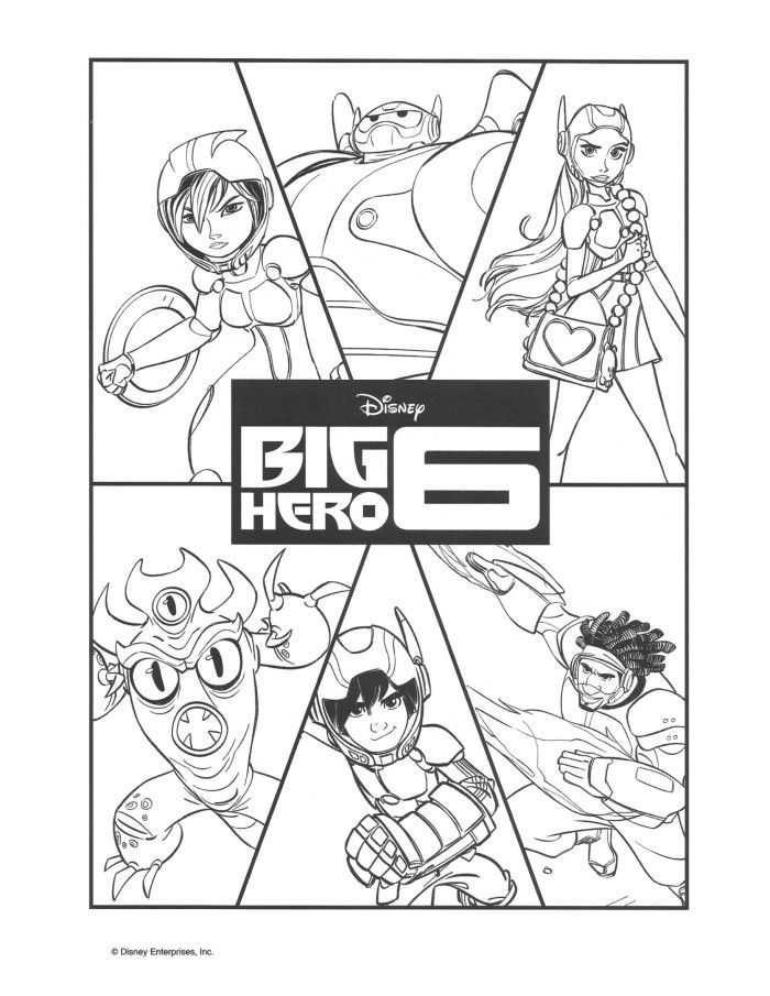 Big Hero 6 Group Coloring Sheet - #BigHero6