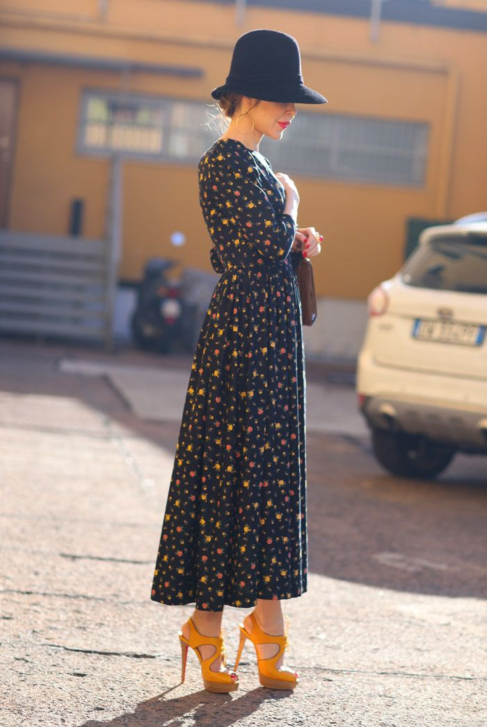 Bringing back the 30's. Ulyana in Milan | Street Fashion.  Gorgeous, but skip the shoes unless you want to puncture tires.