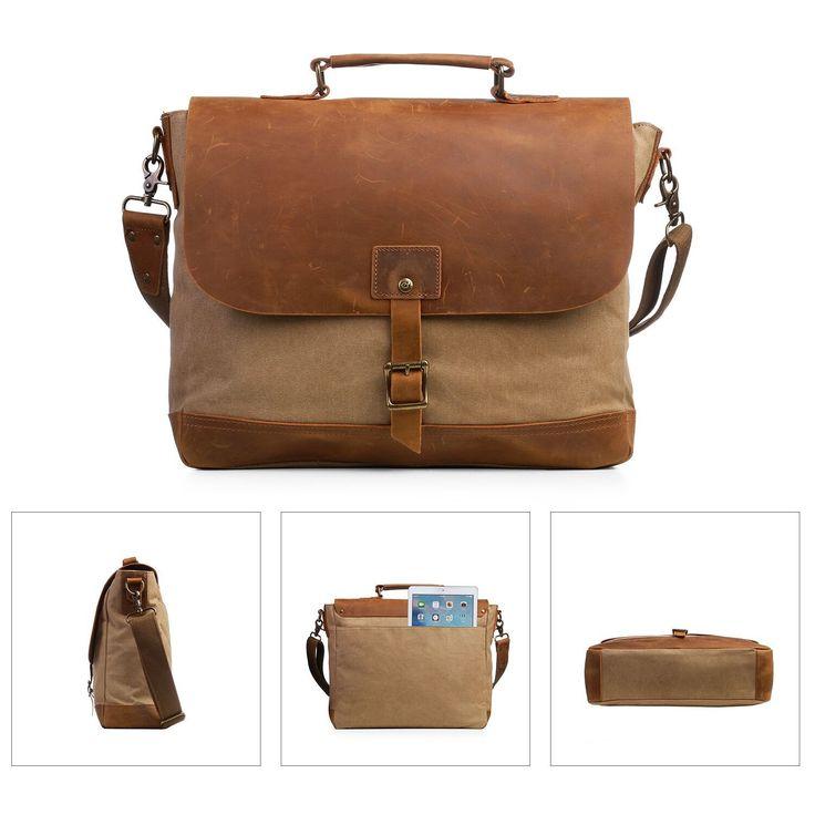 Beige canvas & leather shoulder bag for your vintage style travel