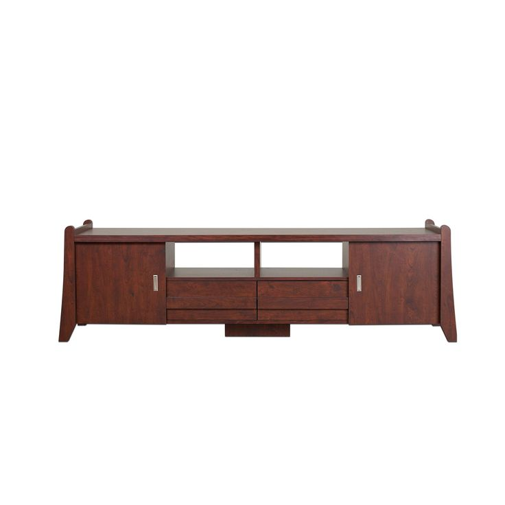 """ioHOMES Kammie TV Stand, 70"""", Vintage Walnut. Contemporary style television stand. Spacious 70-inch surface. 2 Cabinets, 2 drawers and 2 shelves for media storage and organization. Materials: Wood, wood veneers. Overall dimensions: 70.08""""L x 15.75""""W x 20.47""""H."""