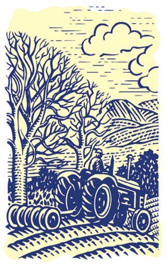 Farm tractor illustration - landscape illustration - woodcut illustration - scraperboard style illustration