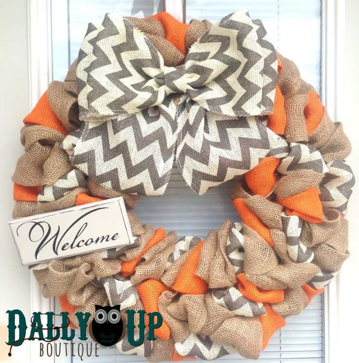 Burlap Wreath. Fall Wreath, Autumn Wreath, Orange Natural and Gray Chevron Burlap Wreath, Welcome Wreath, Everyday Wreath, Year Round Wreath by DallyUpBoutique on Etsy https://www.etsy.com/listing/181843086/burlap-wreath-fall-wreath-autumn-wreath