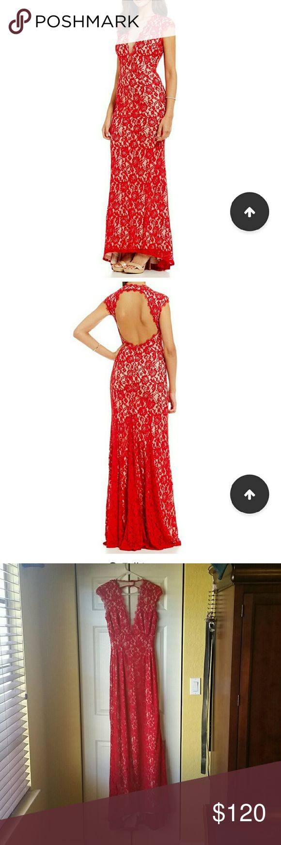 Red Aidan Mattox Lace dress Only worn twice and still in good condition :-) Aidan Mattox Dresses Backless