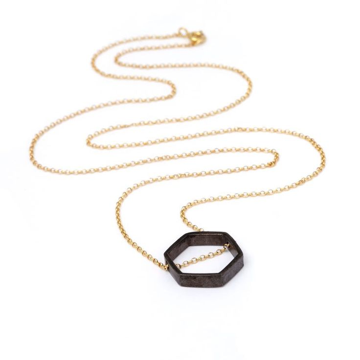 Rhodium Plated Hexagone/Gold Plated Chain