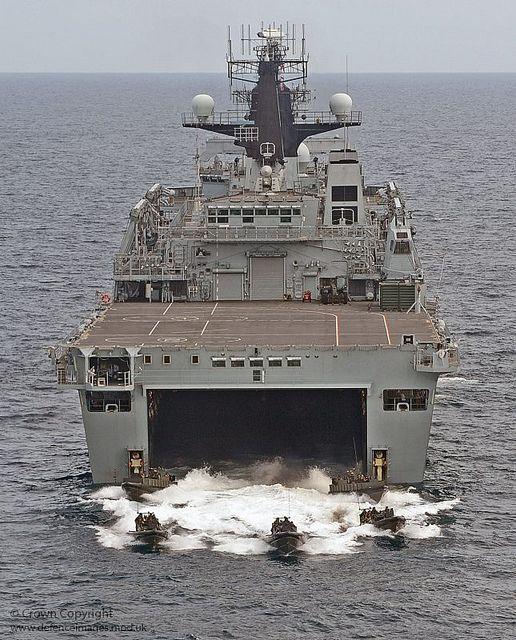 HMS Albion Deploys Royal Marine Assault Craft by Defence Images, via Flickr