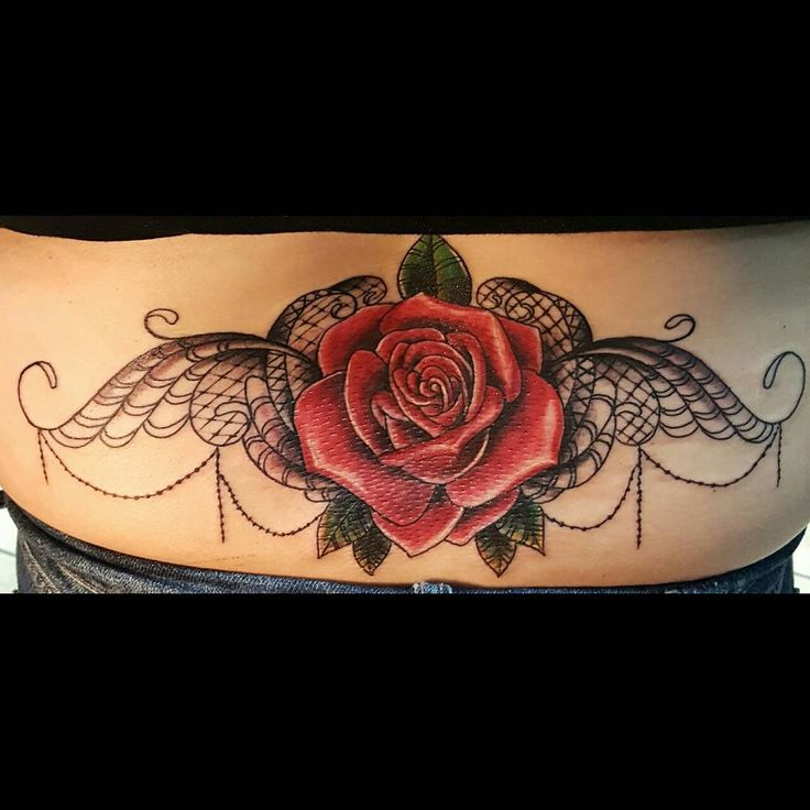 3d Rose and Lace Tramp Stamp Tattoo