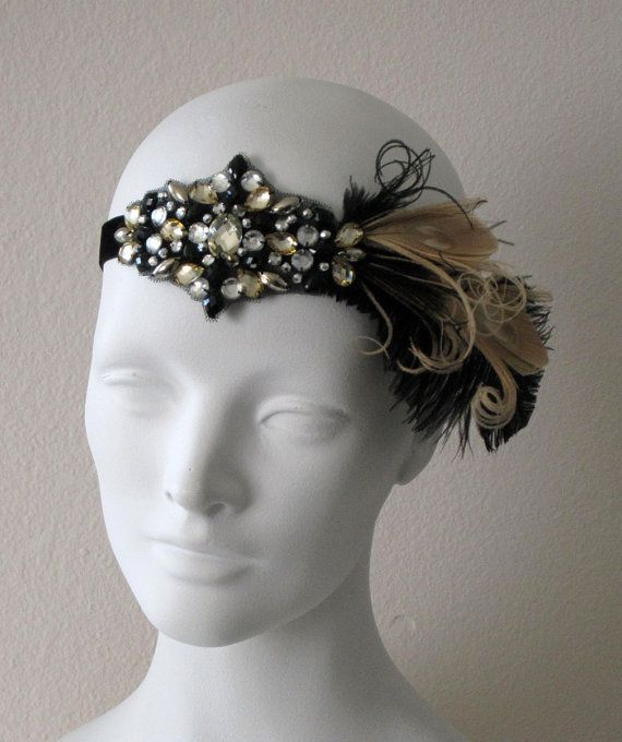 Party Girl Flapper Feather Headband Black And Champagne- As Seen On Red Carpet NYC Looks nice with http://www.natayadresses.com/en/155-nataya-40162-art-deco-party-dress.html