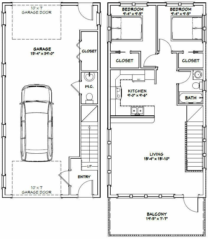 20x40 House 2 Bedroom 1 5 Bath 859 Sq Ft Pdf Floor Plan Model 7s 29 99 Picclick 20x40 House Plans Floor Plans Stilt House Plans