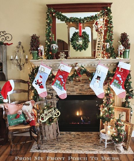 Carolers Displayed On A Mantle With Garland And Stockings: 104 Best Christmas Decorations Images On Pinterest