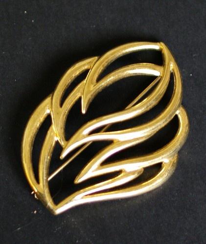 MONET solida SPILLA VINTAGE color ORO forma FOGLIA STILIZZATA