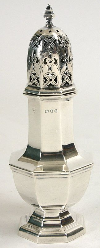 English antique sterling silver sugar shaker caster