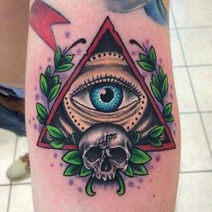 Skull And Illuminati Eye Tattoo On Leg