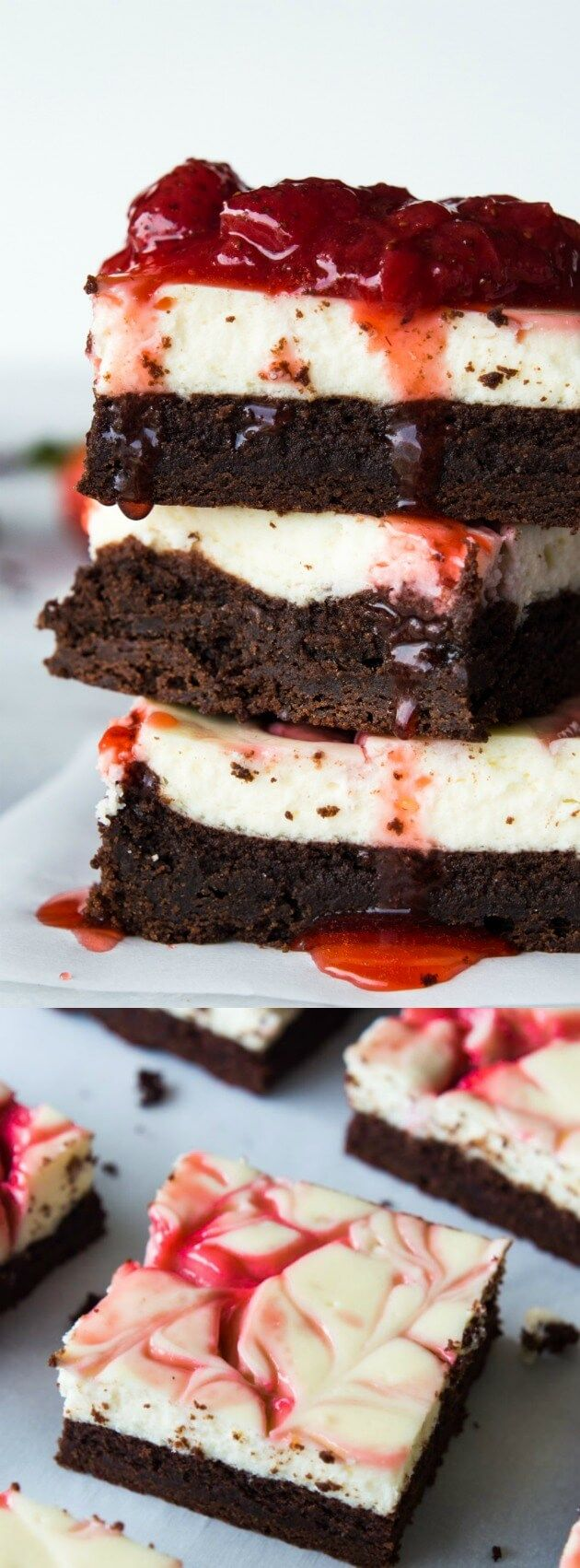 These Strawberry Cheesecake Brownies from House of Yumm are what desserts are all about. Homemade brownies are loaded up with a layer of creamy cheesecake then swirled with a sweet strawberry sauce for a pop of flavor!