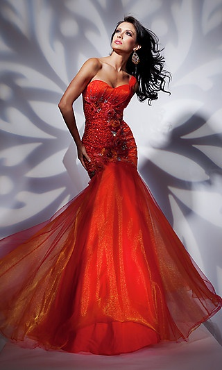 Red One Shoulder Mermaid Gown at SimplyDresses.com