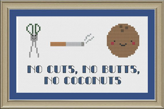 No cuts no butts no coconuts funny by nerdylittlestitcher on Etsy, $3.00