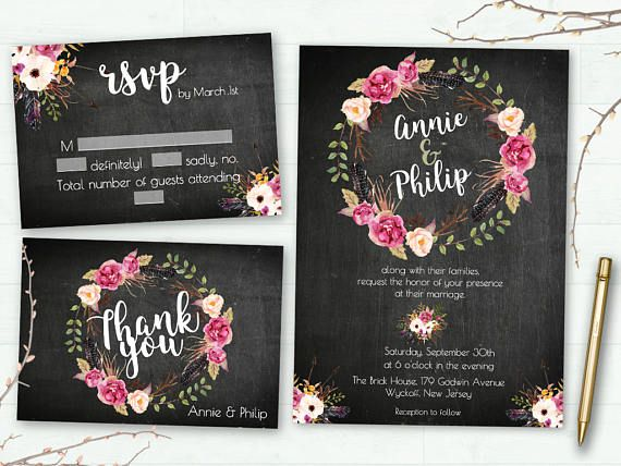 Wedding invitation Suite Elegant wedding invitation Floral