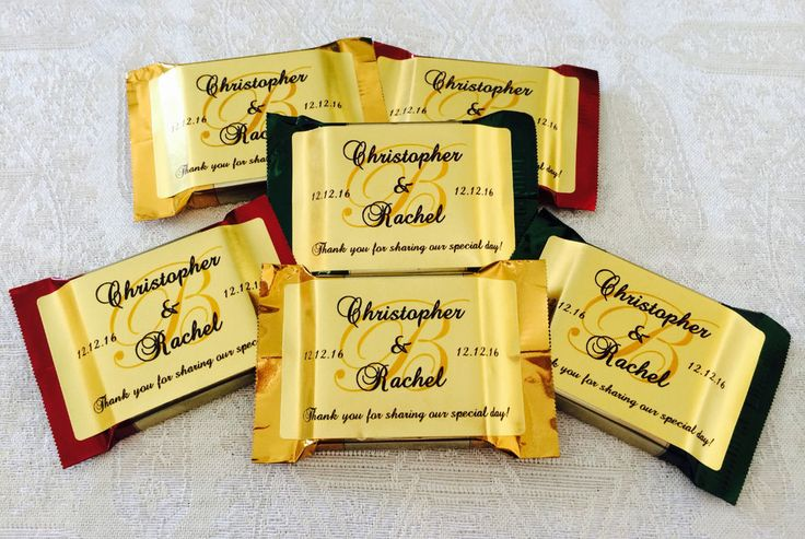 90 PERSONALIZED GOLD FOIL MONOGRAM WEDDING FAVOR LABELS 4 YOUR CHOCOLATE SQUARES in Home & Garden, Wedding Supplies, Wedding Favors | eBay